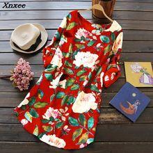 Women O Neck Red Long Sleeve Cotton Linen Retro Flower Beach Knee Dress Boho Print Summer Loose Shirt Large Size S-5XL