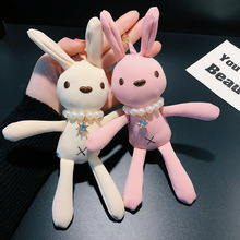 2019 Cartoon rabbit Key chain Fashion Cute Female Bag Car Pendant Keychains Childrens Toy Animal Doll plush Rabbit Keyring