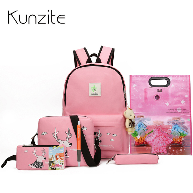 2f98b6cfb9 Kunize 8Pcs Cute Animal Printing Backpack Women Canvas Backpack School Bags  For Teenager Girls School Backpack Set Women Bookbag