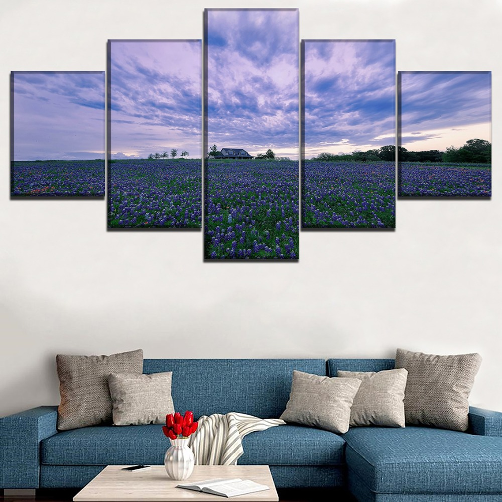 Canvas Print Painting Home Decor Living Room Wall Art 5 Pieces House In Purple Flower Poster Landscape Hyacinth Field Picture