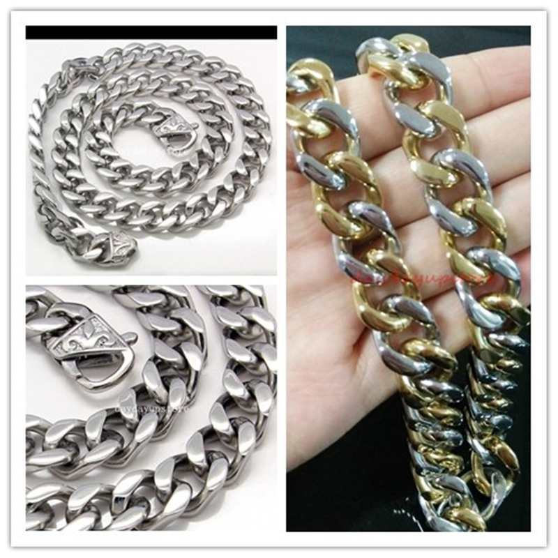 Heavy 13mm Top Quality Men s Boy s 316L Stainless Steel Chain Link Curb Cuban Necklace