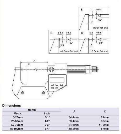 Scribed line Digital Single Point Micrometers.0-25mmElectronic blade micrometer. Type B  цены