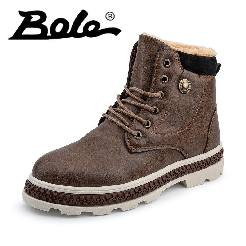 2018 Winter Men Work Boots Martin Boots Round Toe Lace Up Light Weight 3 Color Flat Hard Wearing Shoes Youth Trending Style Warm popular men martin boots winter with fur flat high top hot round toe lace up boots hard wearing warm 2018 cotton boots for male