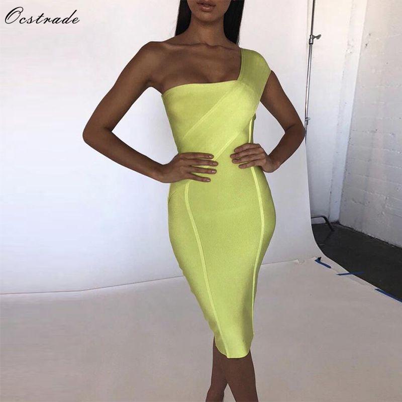 Ocstrade célébrité Bandage robe nouveauté 2019 été femmes néon vert Bandage robe moulante une épaule soirée robe de soirée