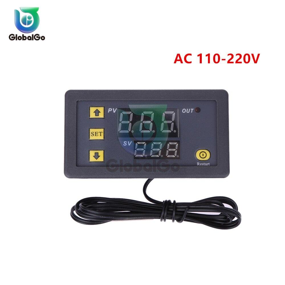 W3230 светодиодный цифровой термостат для контроля температуры AC/DC 12в AC 110в 220в 20A Мини светодиодный дисплей термостата водонепроницаемый зонд - Цвет: AC 110-220V
