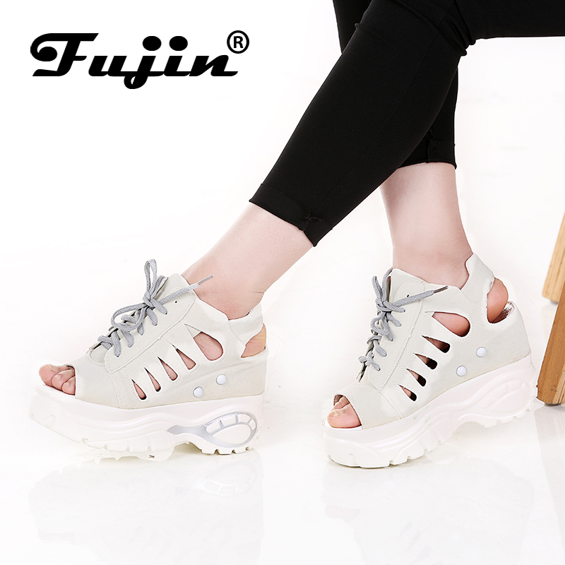Fujin Brand Sandals Women's Leisure Platform Sandals New 2017 Fashion Cutout Thick Heels Wedges Summer open toe Shoes Woman anmairon shallow leisure striped sandals women flats shoes new big size34 43 pu free shipping fashion hot sale platform sandals