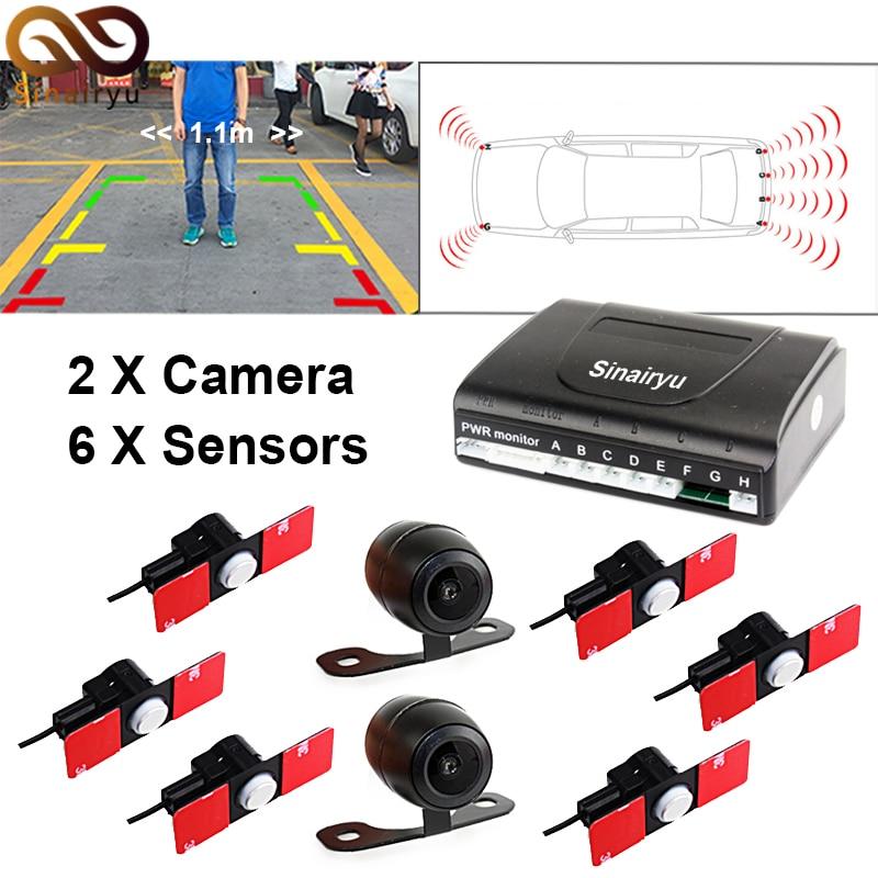 Double CPU Car Video Parking Sensor Front Rear Reversing Radar 6 Sensors 2 Camera For TFT Monitor + 16mm Original Flat Sensors rns510 rcd510 car rgb reversing video camera for vw tiguan a4 a7 s6 q5 a6 a5 2011 2012 5nd 827 566 c 5nd827566c