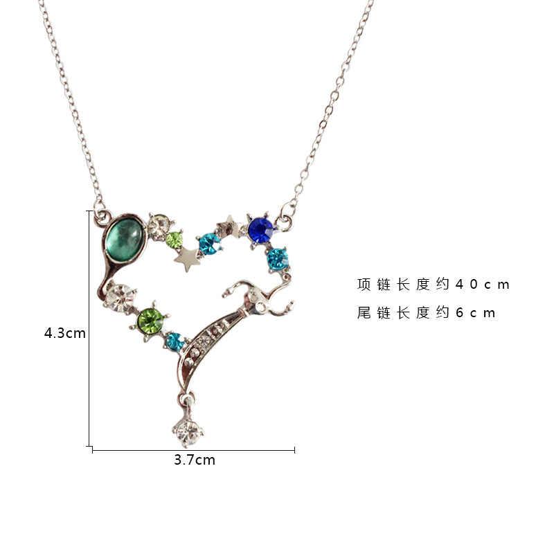 Il trasporto libero 10 pz/lotto accessori dei monili di modo sailor moon blu del cuore del rhinestone della collana