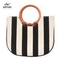 ADIYATE Striped Straw Sac De Plage Beach Famous Clutch Brand Bamboo Handbags Sac De Plage Bamboo