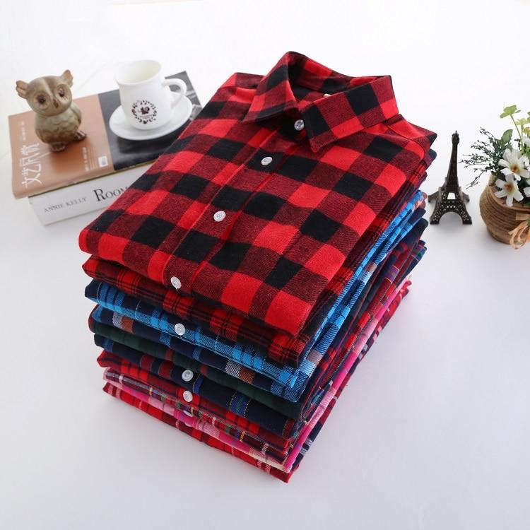 Plaid Shirt Women 2017 Nieuwe 100% Katoen Lange mouw Casual Flanel Shirts Dames Student Stijl Dames oversize 5XL Tops Blouses