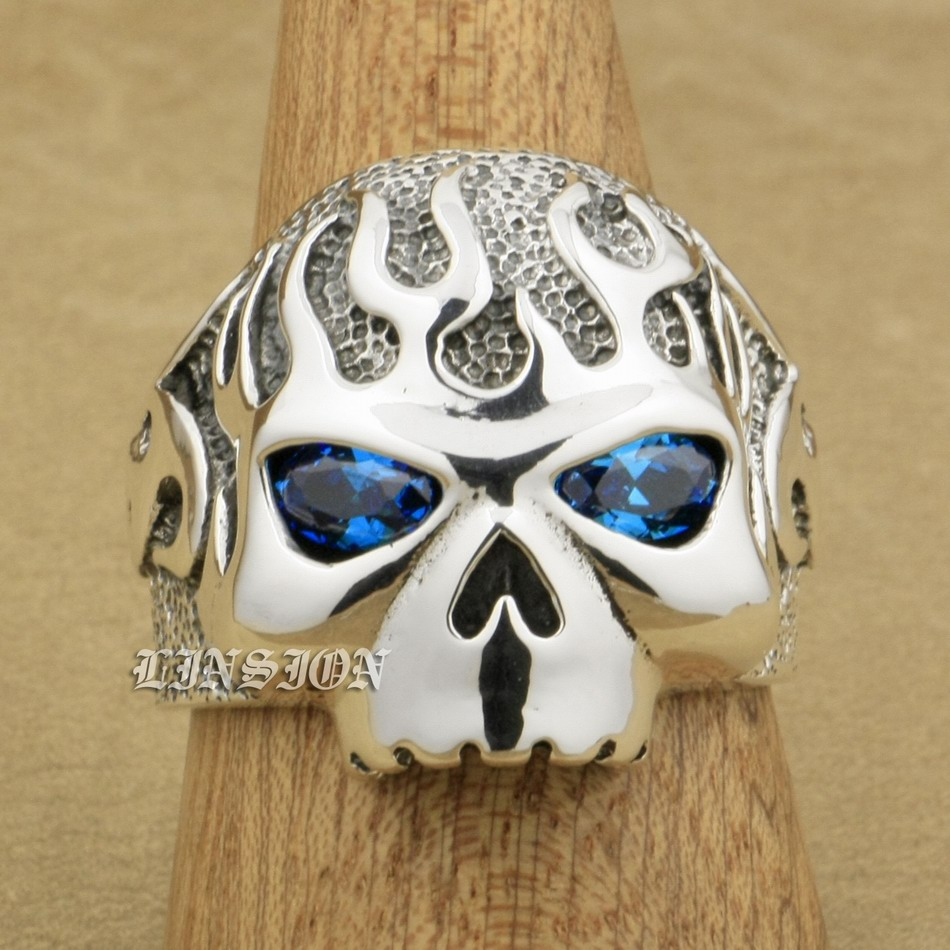US Size 8 15 Huge Heavy Solid 925 Sterling Silver Fire Skull Blue CZ Eyes Mens