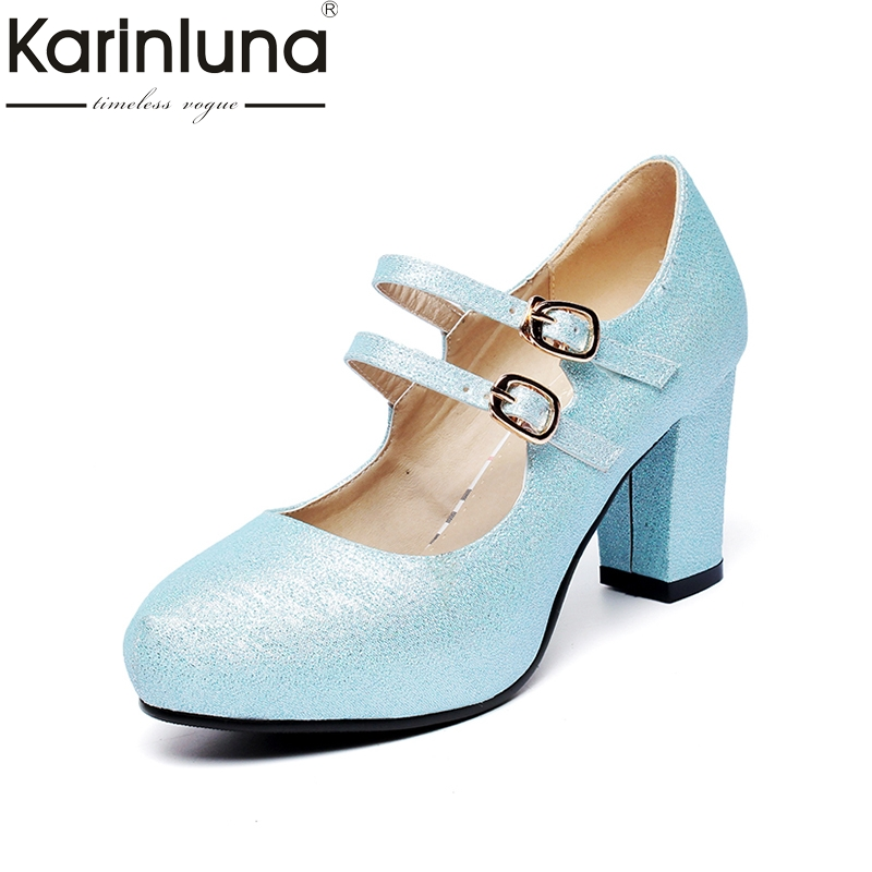 цены KARINLUNA Women's Mary Jane Style Double Belt Strap Chunky High Heel Shoes Woman Round Toe Platform Pumps Big Size 33-43