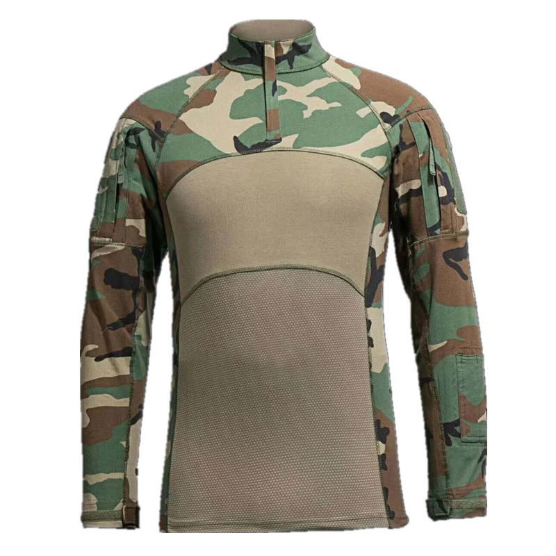 Men Tactical T-shirt Summer Army Camouflage Combat T Shirt Long Sleeve Military Airsoft Shirt Elastic Paintball Shirts