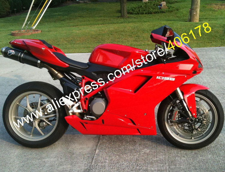 Hot Sales,Full Red Body kit For 2007-2011 Ducati 848 1098 1098S 1198 07 08 09 10 11 Motorcycle Fairing Kit (Injection molding) hot sales 08 09 10 11 for honda cbr1000rr fireblade 2008 2011 red