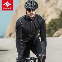 Santic Spring Autumn Men Cycling Vest Windproof Reflective Sleeveless Anti sweat Road Bike Vest Warm Jackets safety vest