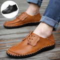 2016 New Genuine Leather Shoes Men Fashion Casual Male Flats Oxfords Mocassins Driving Shoes Soft And Breathable Lace-Up Shoes