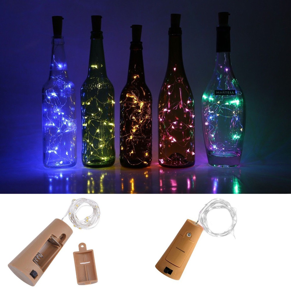 10 20 30LEDs Cork Shaped LED String Light Copper Wire String Holiday Outdoor Fairy Lights For Christmas Party Wedding Decoration