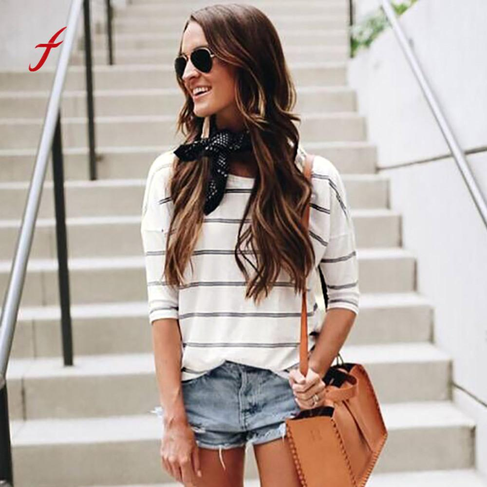 feitong Women Girls Stripe Casual Loose O Neck Elbow Half Sleeve Tops Female Spring Fashion Stylish Clothes Pullover