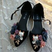 Women Summer Sandals Floral Ladies Wedding Shoes 2cm Low Heels Rabbit Fox Animal Flock Pumps Ankle Strap Women Footwear Big Size