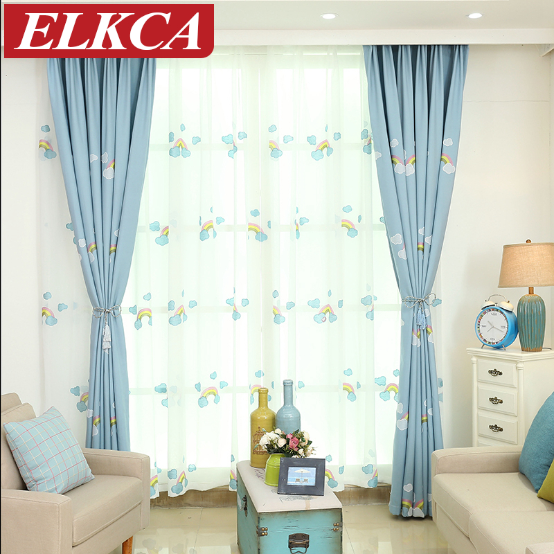 Blue Rainbow Embroidered Curtains For Children Faux Linen
