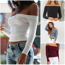 Fashion Women Off Shoulder Crop Top Knitted Short Tank Top Solid Fitness Vest Blouse Ladies Streetwear off shoulder drawstring split front crop blouse