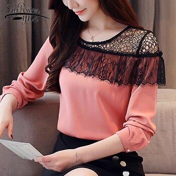 f3dc451f3 Moda mujer blusas 2019 sexy de encaje gasa blusa camisa manga larga Camisas  de mujer de Mujer tops y blusas 2135 50