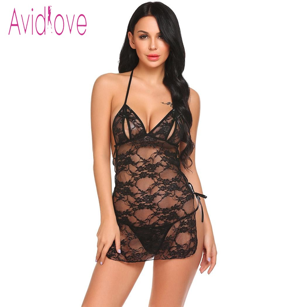 Avidlove Sexy lingeire Women Halter Lace Floral Side Split See Through Sexy One Piece Lingerie ...