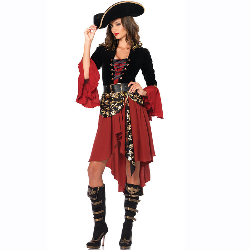 New Luxury Spanish Black Red Cosplay Pirate Costume Adult Women Halloween Costume For Wonder Woman