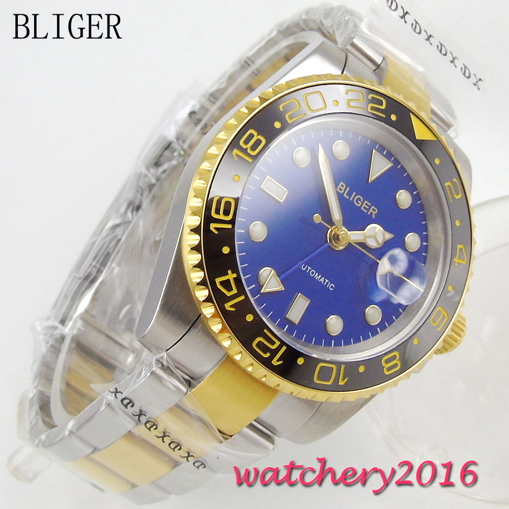 40mm Bliger Blue dial Luminous Stainless steel Sapphire Crystal Golden Plated Bezel GMT Automatic movement Mechanical Mens Watch business men quartz watch golden bezel crystal dial calendar luminous hand stainless steel strap montres hommes reloj hombre