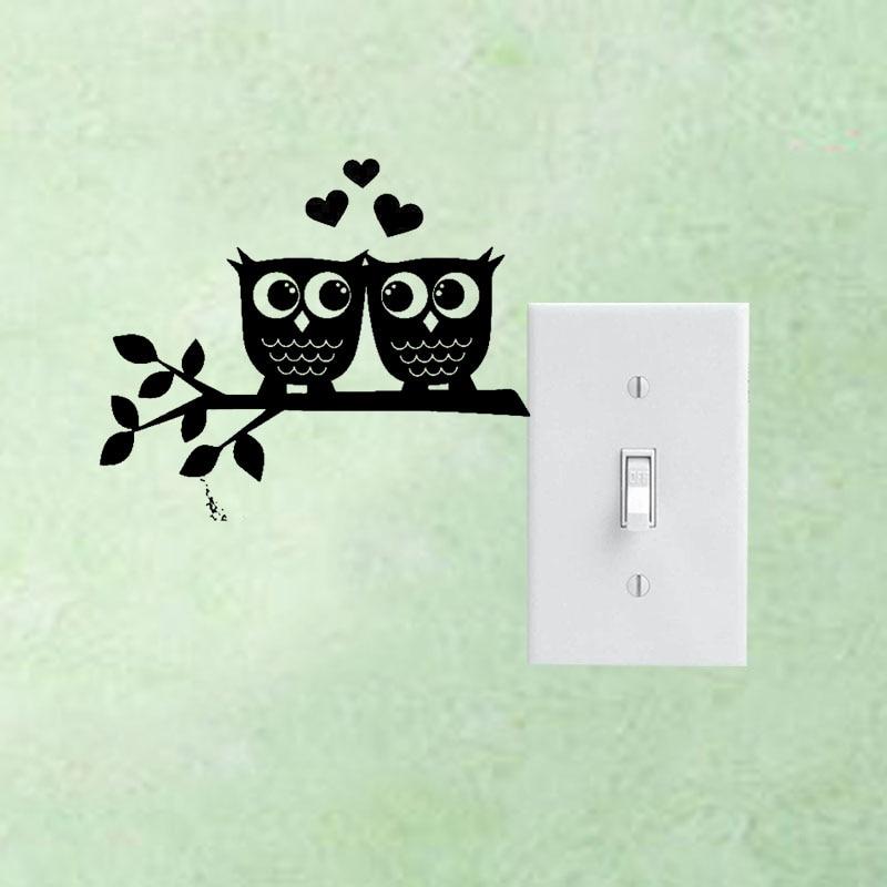 Совы в сердце любовь пара съемных виниловые наклейки на стены переключатель Стикеры Домашний Декор Свадебный номер 3ss0216