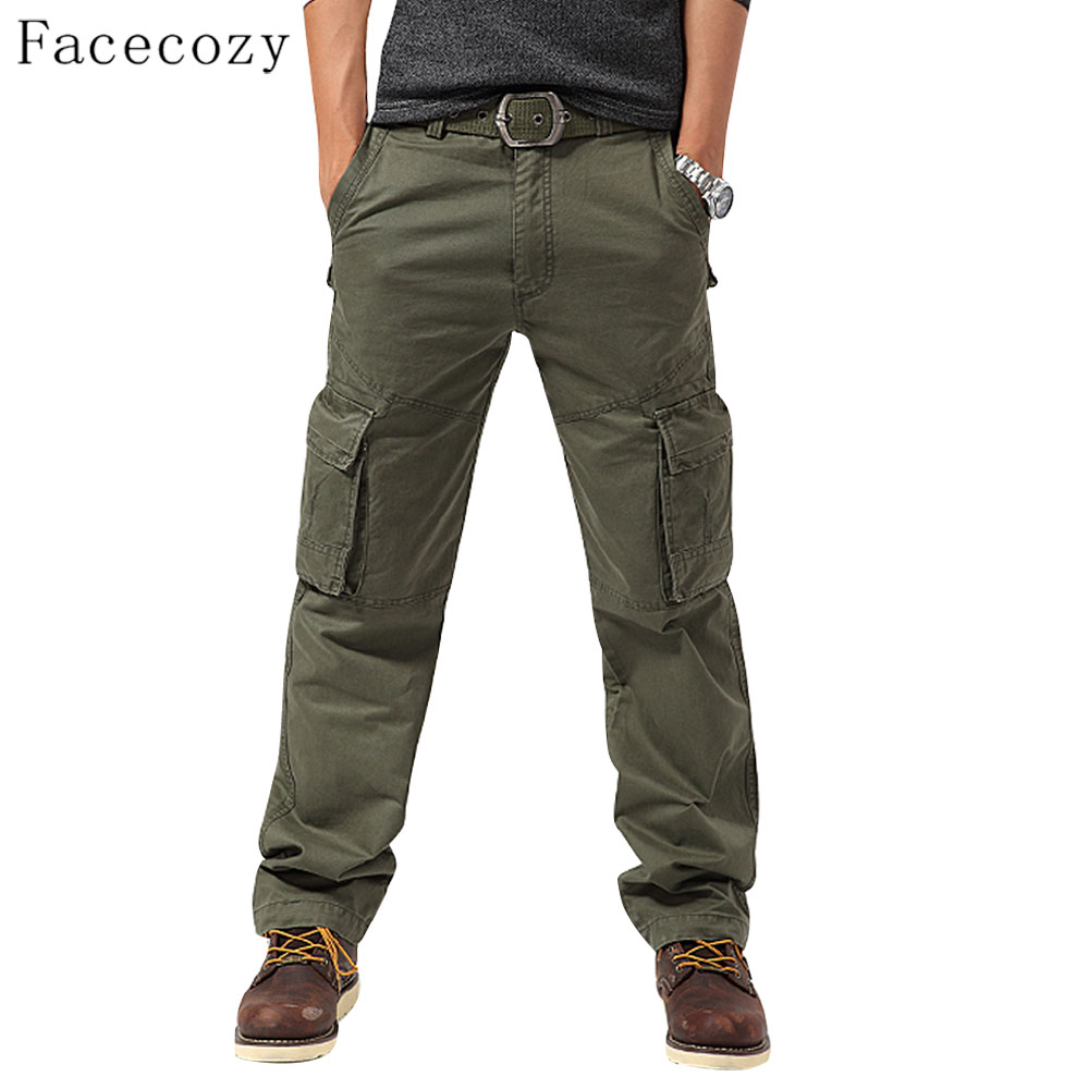 Facecozy Men Autumn Outdoor Sports Pant Male Windproof Multi-pockets Camping Loose Style Trouser facecozy men spring