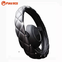 38CM 15 Universal Car Styling Cystal Crown PU Leather DAD Diamond Steering Wheel Cover