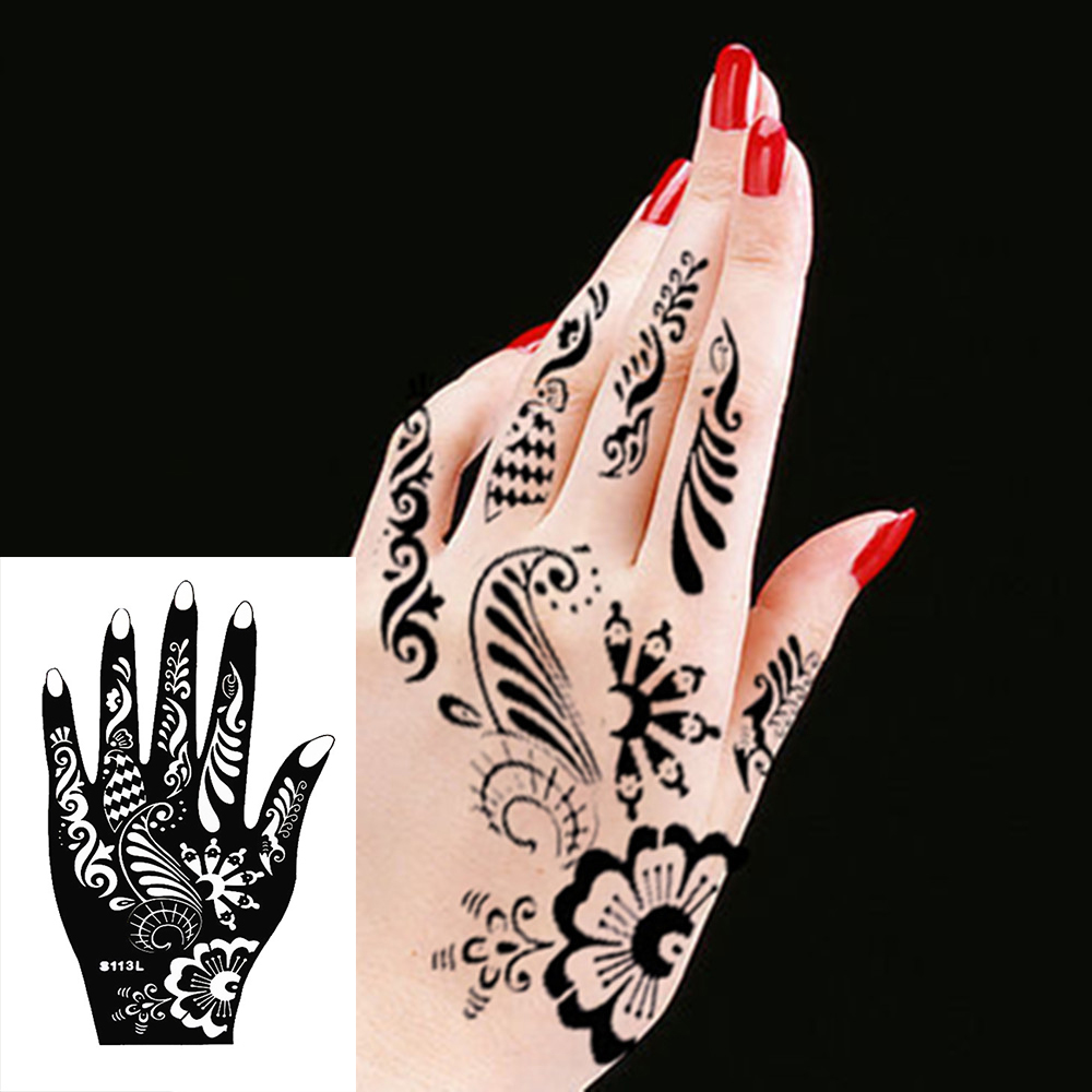 Tattoos Henna For Body: Body Hand Ink Tattoo Art India Henna Design Simply Stencil