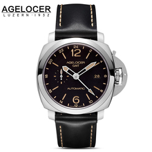 Hot sale Agelocer Logo Original switzerland Men Watch Leather Hour Male Clock Sapphire Casual Classic Wristwatches