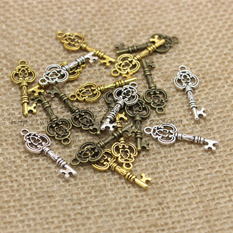 Three Color Vintage Metal Keys Jewelry Charms Jewelry Pendant Fit Jewelry Making Pendants 100pcs/lot 9*26mm T0330
