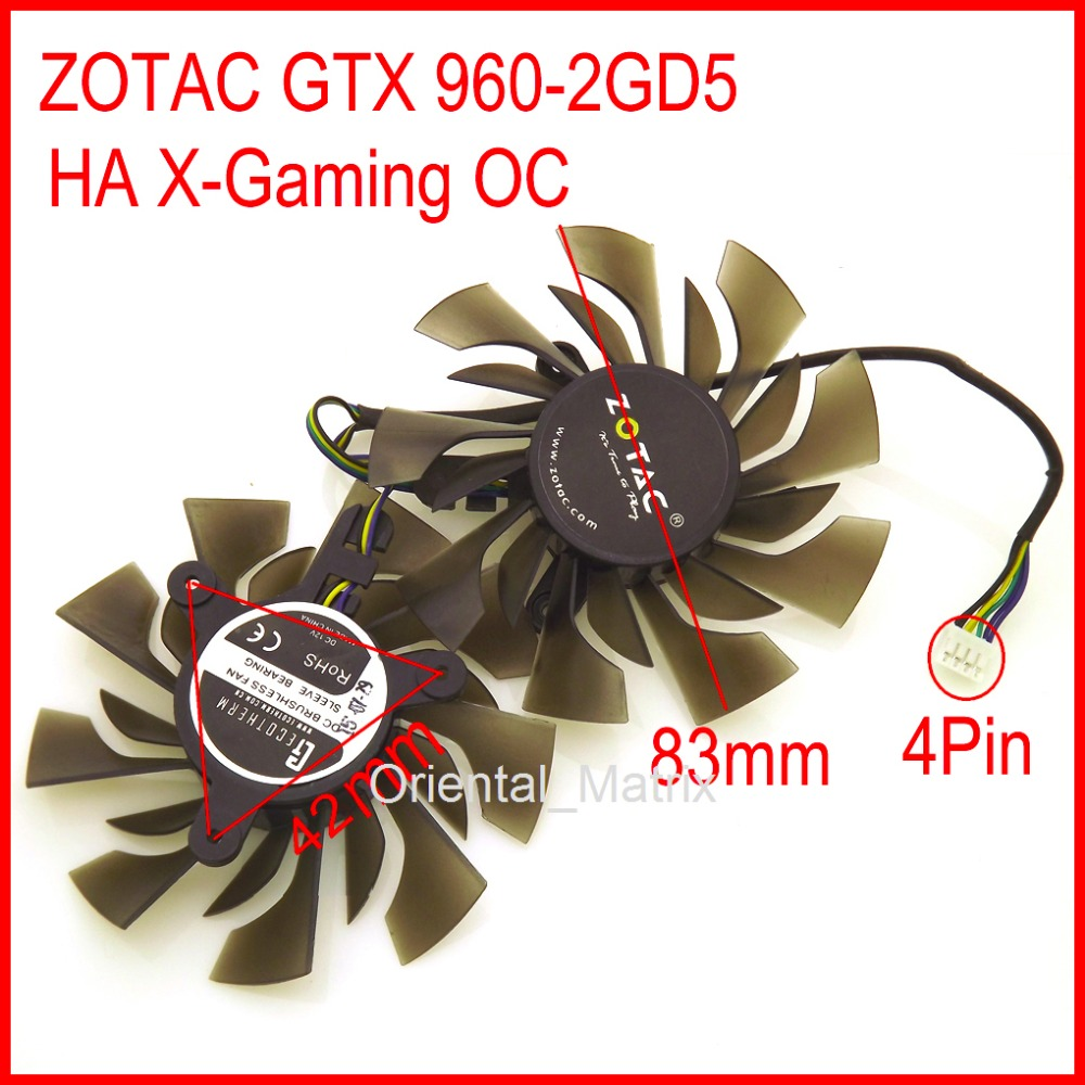 Free Shipping 2pcs/lot Cooler <font><b>Fan</b></font> 12V 83mm 42*42*42mm 4Pin For <font><b>ZOTAC</b></font> <font><b>GTX</b></font> <font><b>960</b></font>-2GD5 HA X-Gaming OC Graphics Card Cooling <font><b>Fan</b></font> image