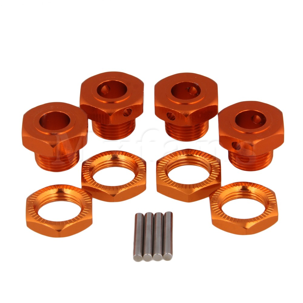 Mxfans Orange RC 1/8 Tires Adapter Hex Wheel Hubs for Largefoot Car Set of 4 mxfans green upgrade 12mm dia t10122 rc1 8 buggy wheel hex mount kit 12pcs in one set