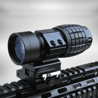 Tactical 3X Magnifier Rifle Scope QD Mounts Flip To Side Quick Release 20mm Rail Fit For