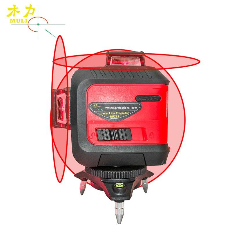 Muli 3D Rosso 5/12 Linee di Livello del Laser 360 di Auto Livellamento Impermeabile Antiurto Accurate Chiave di Tocco Batteria Al Litio Costruzione strumenti