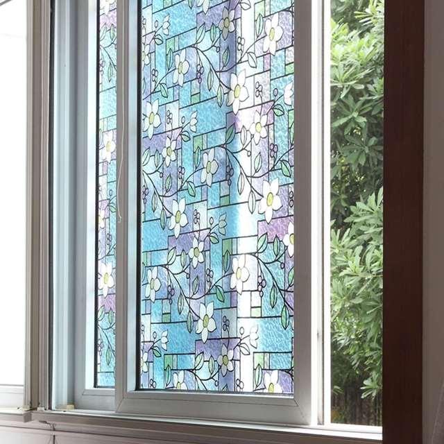 Fenêtre Autocollants Verre Opaque Fleur D Vitrail Film Coloré - Fenetre opaque salle de bain
