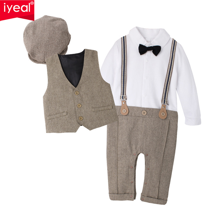 IYEAL NEWEST 2018 Newborn Boy Clothing Sets Top Quality Cotton Gentleman Spring Fashion Rompers + Vest + Hat Autumn Baby Clothes lonsant 2017 children set kids baby boy clothes sets gentleman rompers pants suit long sleeve baby boy clothes set dropshipping