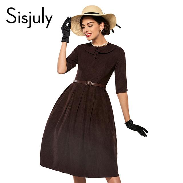 Sisjuly day dress vintage mujeres de la solapa de media manga otoño dress plisado a-line delgado partido de las mujeres vestidos de estilo vintage 1950 s retro