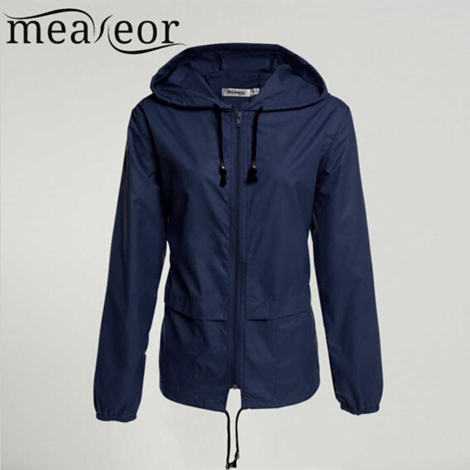 Meaneor thin   trench   coat for Women Windbreaker Hooded 2018 autumn winter Lightweight Waterproof Sun protection casual Rain coat