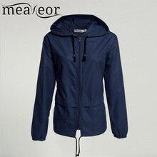 Meaneor thin trench coat for Women Windbreaker Hooded 2018 autumn winter Lightweight Waterproof Sun protection casual Rain coat