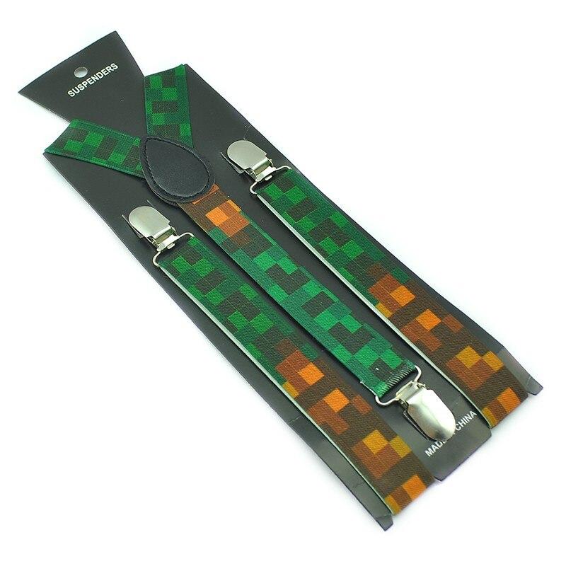 Free Shipping 2.5cm Green Orange Black Plaid Checker Suspender Clip-on Braces Elastic Braces Suspender Y- Back Suspenders