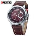 2016 New CURREN Genuine Leather Strap Gold Business Watch Quartz Luxury Sport Watch Men Brand Watch relogio masculino