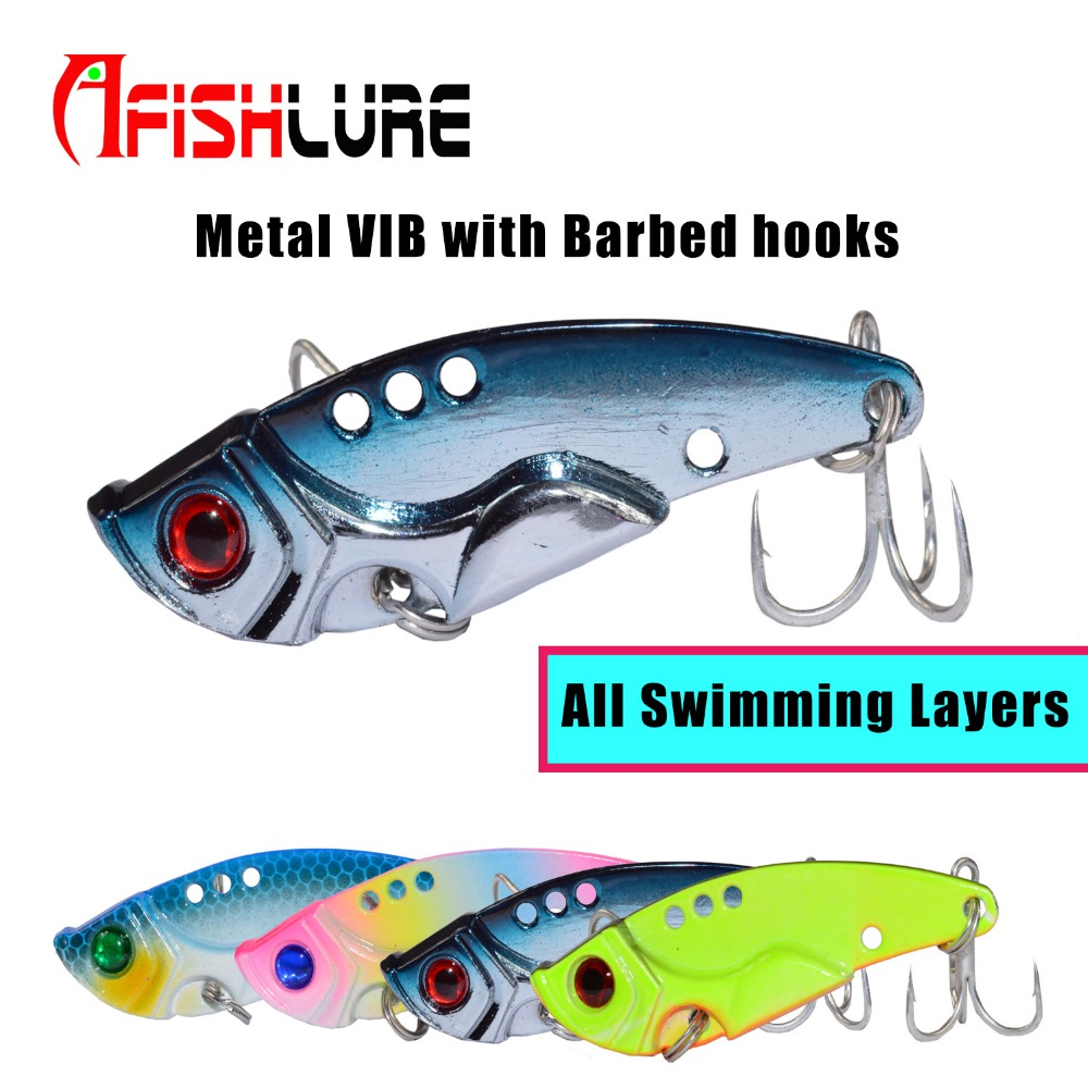 Afishlure Quick Sinking Metal VIB Crankbait 12g/15g/20g Treble Hooks Vibration Lure Fishing Lure Metal Spoon Sequins All Water sealurer 5pcs fishing sinking vib lure 11g 7cm vibration vibe rattle hooks baits crankbaits 5 colors free shipping