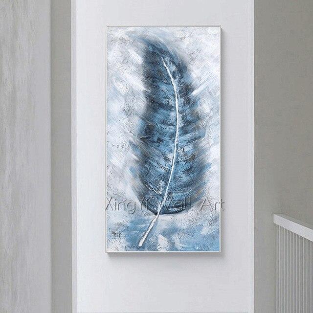 Abstrakte kunst leinwand malerei wand feder bilder für wohnzimmer hause  original acryl blau textur quadros caudros decor