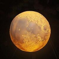قابلة للشحن 3d طباعة القمر مصباح 3/16 اللون تغيير اللمس تبديل البعيد رفرف نوم خزانة ليلة الخفيفة ديكور المنزل الإبداعية هدية