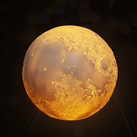 Rechargeable 3D Print Moon Lamp 3 16Color Change Touch Switch Remote Flap Bedroom Bookcase Night Light